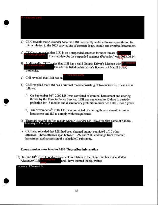 •  Summary of Transcripts  b) I conducted a search using the Toronto Police Unified Search on numbe IP - innocent party Th...