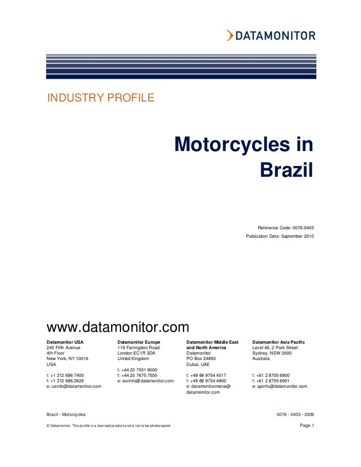 INDUSTRY PROFILE                                                                                 Motorcycles in           ...