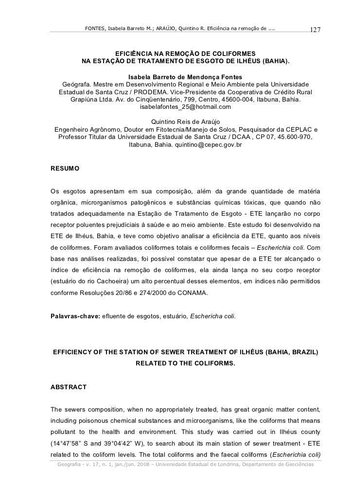 FONTES, Isabela Barreto M.; ARAÚJO, Quintino R. Eficiência na remoção de ....              127                   EFICIÊNCI...