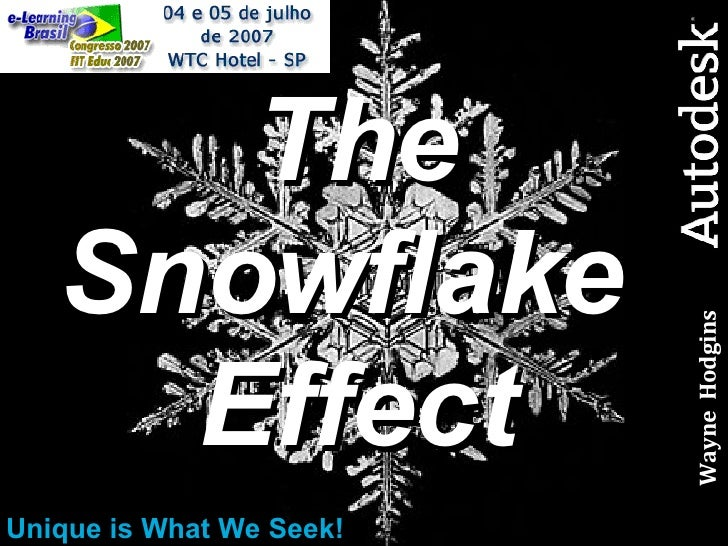 The Snowflake  Effect Unique is What We Seek! Wayne  Hodgins