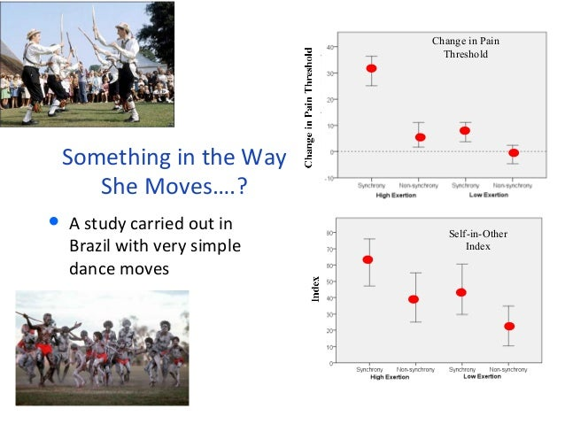 Something in the Way  She Moves….?  • A study carried out in  Brazil with very simple  dance moves  Change in Pain  Thresh...