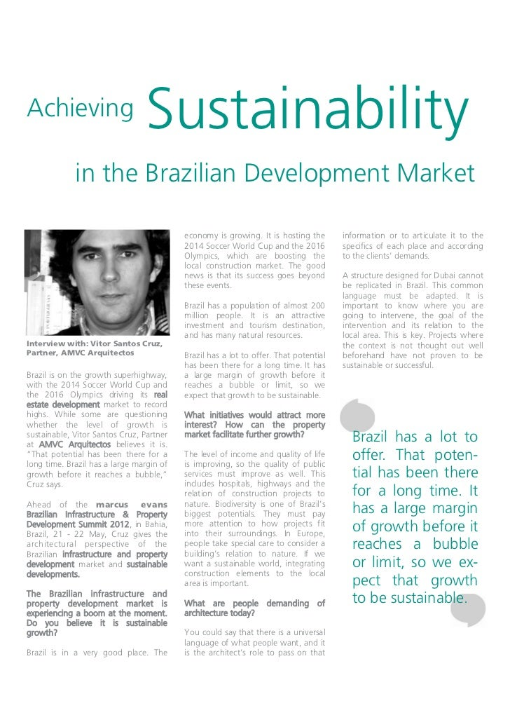 Achieving                       Sustainability             in the Brazilian Development Market                            ...