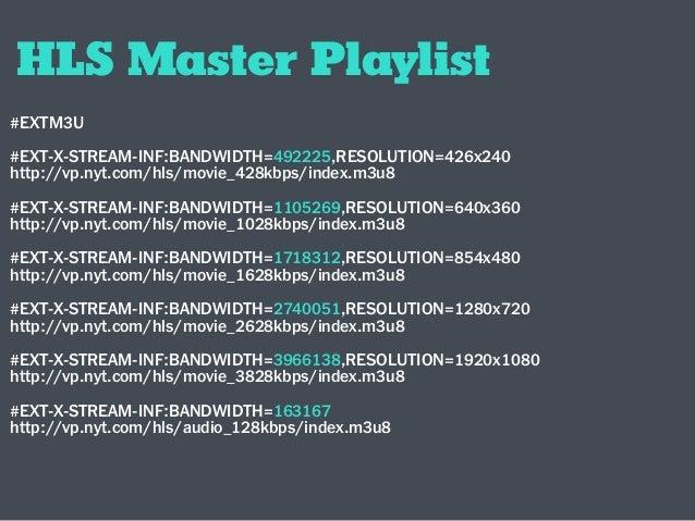 HLS Master Playlist #EXTM3U #EXT-X-STREAM-INF:BANDWIDTH=492225,RESOLUTION=426x240 http://vp.nyt.com/hls/movie_428kbps/inde...