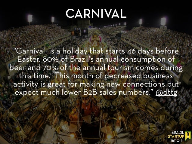 """Carnival is a holiday that starts 46 days before Easter. 80% of Brazil's annual consumption of beer and 70% of the annual..."