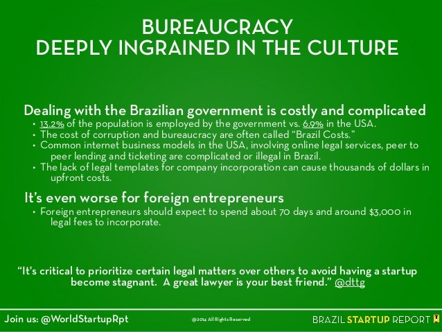 BUREAUCRACY DEEPLY INGRAINED IN THE CULTURE Dealing with the Brazilian government is costly and complicated • 13.2% of the...