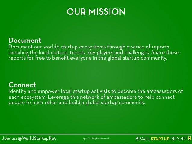 Document Document our world's startup ecosystems through a series of reports detailing the local culture, trends, key play...