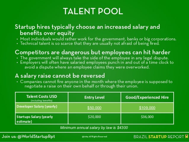 TALENT POOL Startup hires typically choose an increased salary and benefits over equity • Most individuals would rather wor...
