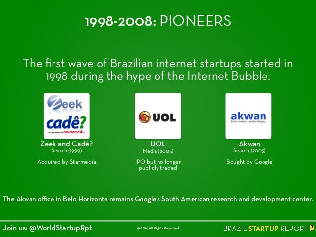 1998-2008: PIONEERS The first wave of Brazilian internet startups started in 1998 during the hype of the Internet Bubble. T...