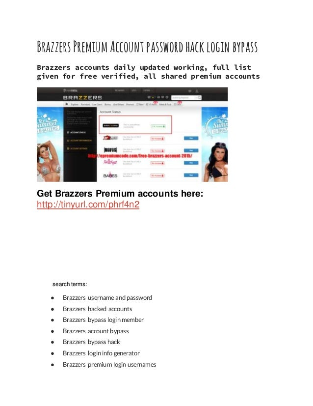 Username and password for brazzers