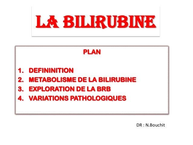 LA BILIRUBINE PLAN 1. DEFININITION 2. METABOLISME DE LA BILIRUBINE 3. EXPLORATION DE LA BRB 4. VARIATIONS PATHOLOGIQUES DR...