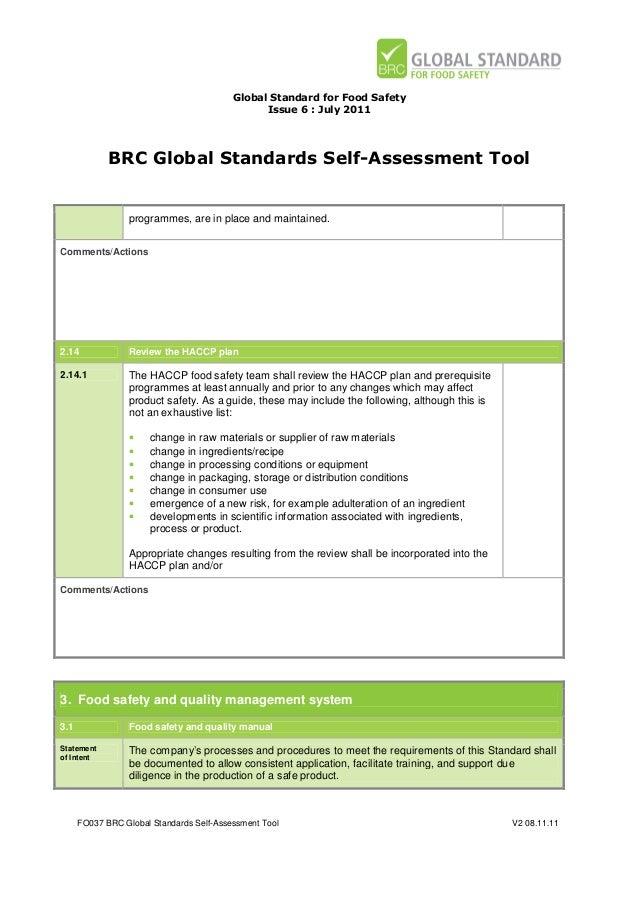 brc global standards self assessment tool for food safety issue 6 rh slideshare net BRC Audit Checklist BRC Audit Done