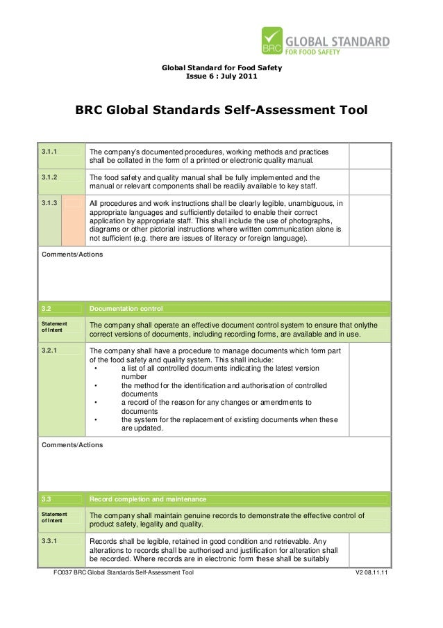 BRC Global Standards Self-Assessment Tool for Food Safety Issue 6