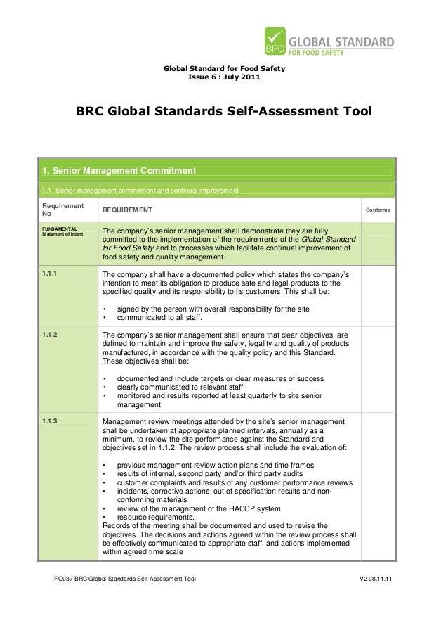 brc global standards self assessment tool for food safety issue 6 rh slideshare net BRC Audit Consulting BRC Audit Checklist
