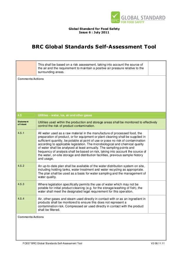 brc global standards self assessment tool for food safety issue 6 rh slideshare net BRC Audit Report BRC Audit Part 1