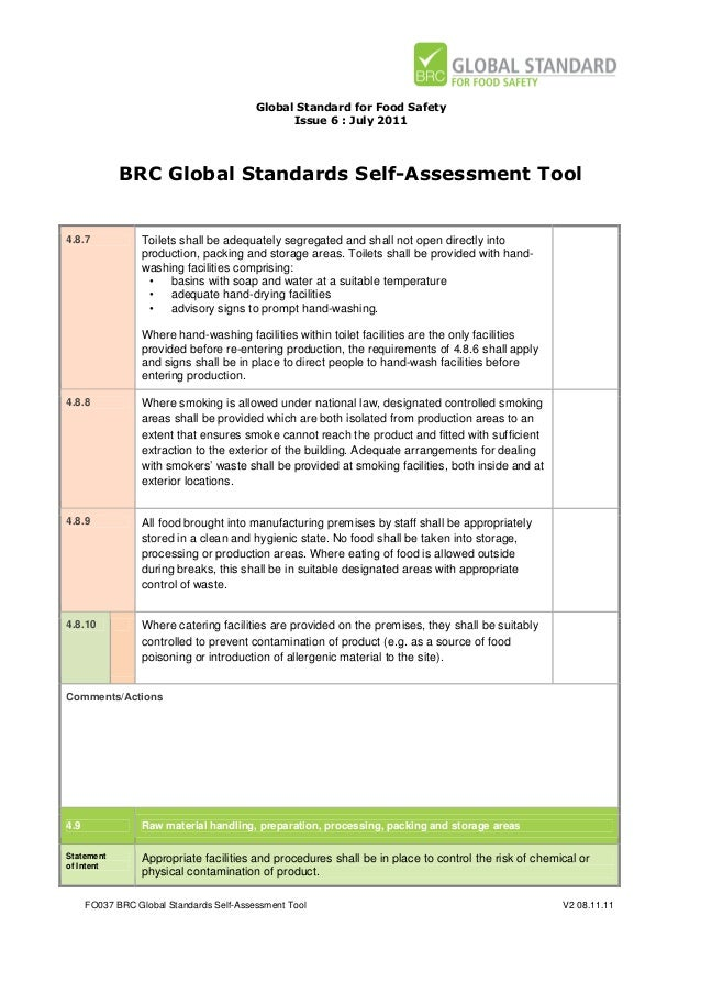 brc global standards self assessment tool for food safety issue 6 rh slideshare net BRC Audit Consulting BRC Audit Report
