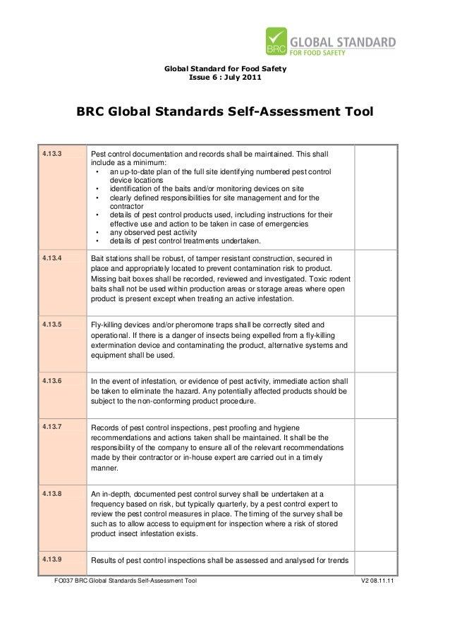 brc global standards self assessment tool for food safety issue 6 rh slideshare net BRC Audit Done BRC Audit Done