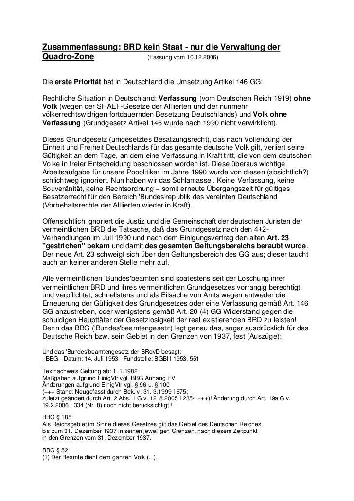 Zusammenfassung: BRD kein Staat - nur die Verwaltung derQuadro-Zone           (Fassung vom 10.12.2006)Die erste Priorität ...