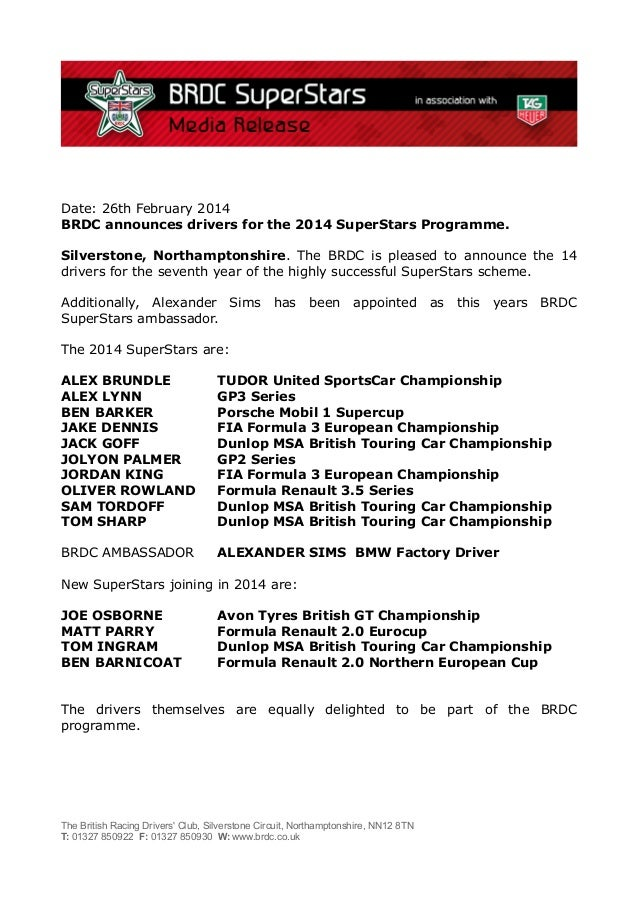 Date: 26th February 2014 BRDC announces drivers for the 2014 SuperStars Programme. Silverstone, Northamptonshire. The BRDC...