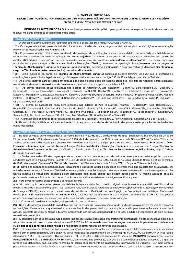 PETROBRASDISTRIBUIDORAS.A.    PROCESSOSELETIVOPÚBLICOPARAPREENC...