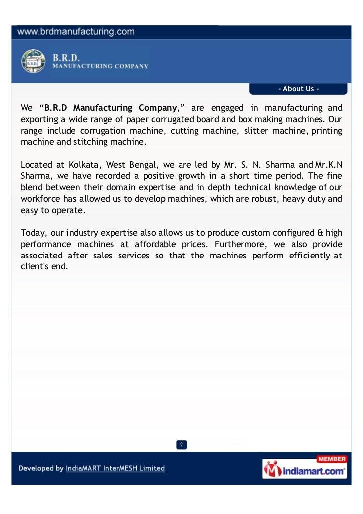 B.R.D Manufacturing Company, Kolkata, Box Making Machinery Slide 2