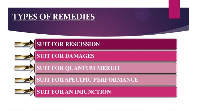 Types or remedies