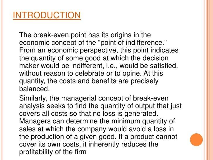 Break even analysis Slide 2