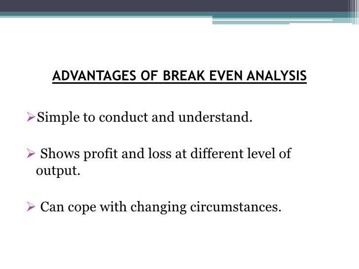 break even output Break-even analysis on page 256 of it's the business textbook, the authors refer to an this can be found quite simply by calculating tr at break-even output.