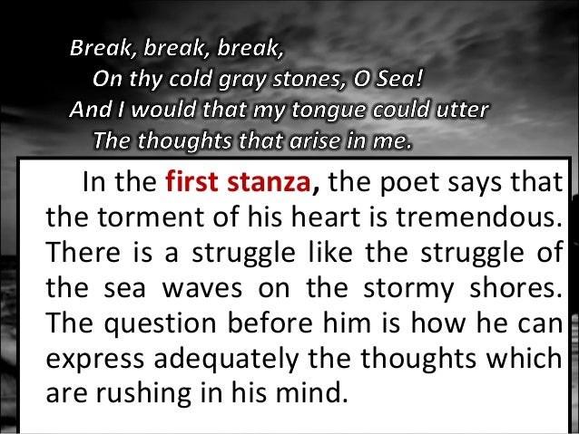 "tennyson s break break break  the sea will continue to ""break"" upon the rocks relentlessly as we are reminded 8"