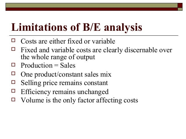 Breakeven analysis under absorption costing