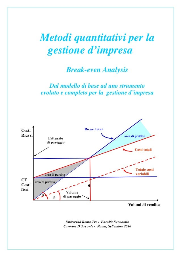 Metodi quantitativi per la             gestione d'impresa                                    Break-even Analysis          ...
