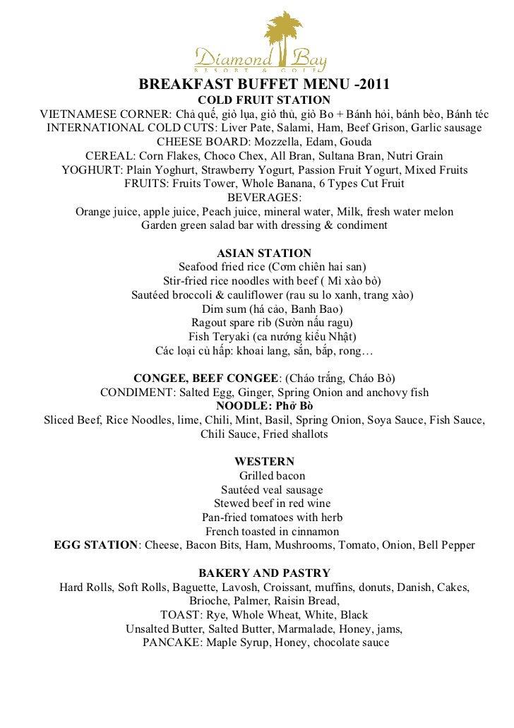 Breakfast buffet menu 2011