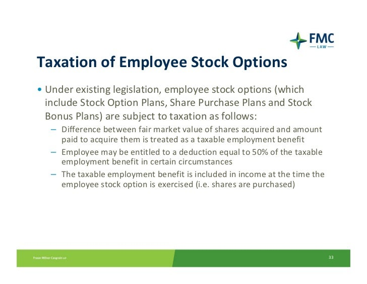 Employer deduction stock options