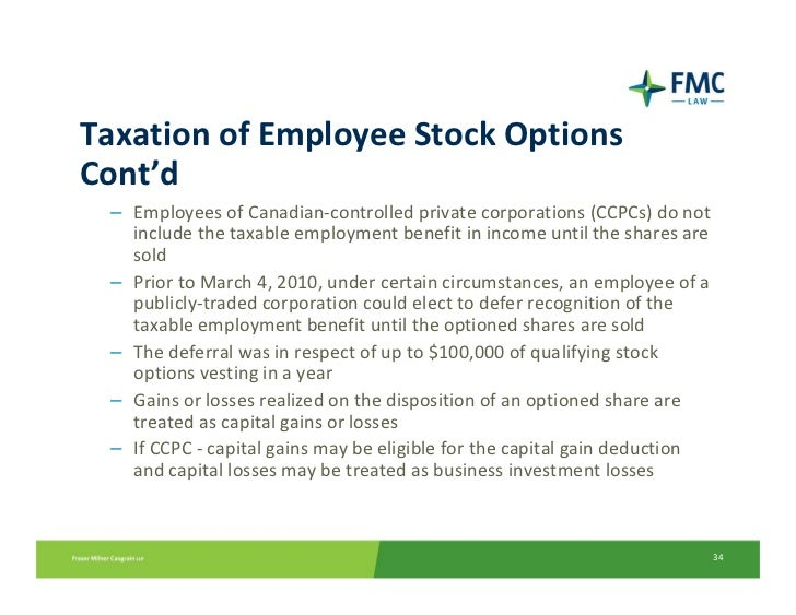 Taxation on company stock options