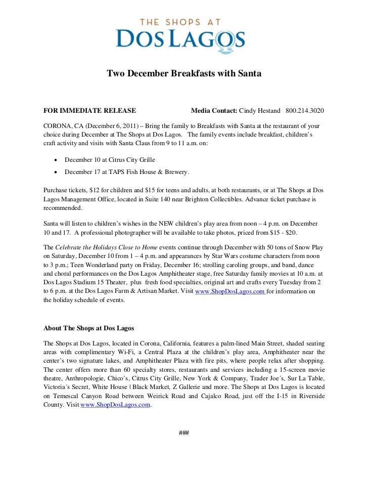 Two December Breakfasts with SantaFOR IMMEDIATE RELEASE                                     Media Contact: Cindy Hestand 8...