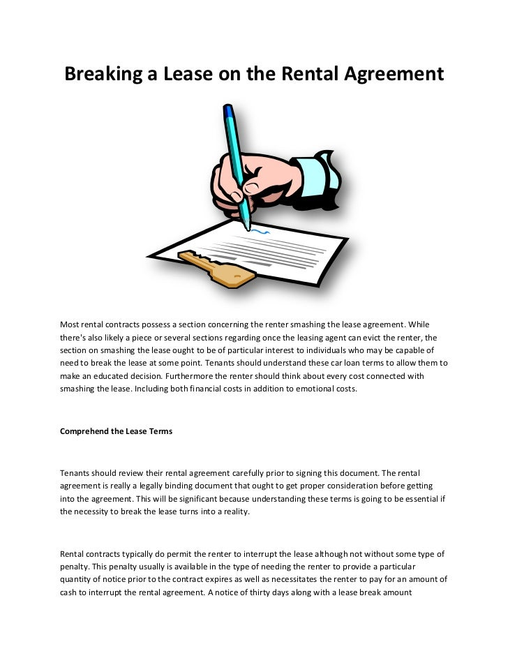 Breaking a lease on the rental agreement