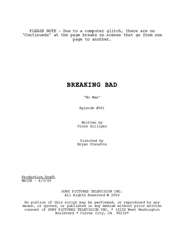 """PLEASE NOTE - Due to a computer glitch, there are no""""Continueds"""" at the page breaks on scenes that go from one            ..."""