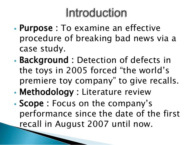 mattel toy recall case study How mattel regained trust share  how could mattel convince parents to trust that their children would be safe with a mattel toy  in the august 14 recall.