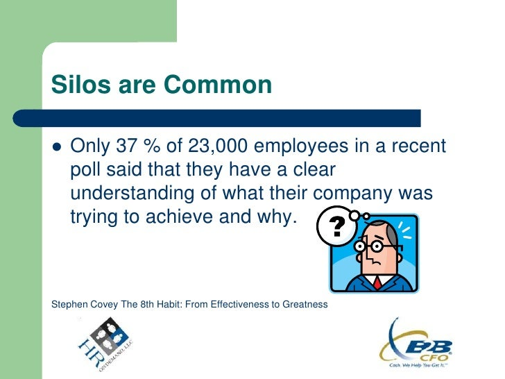 Silos are Common   Only 37 % of 23,000 employees in a recent    poll said that they have a clear    understanding of what...