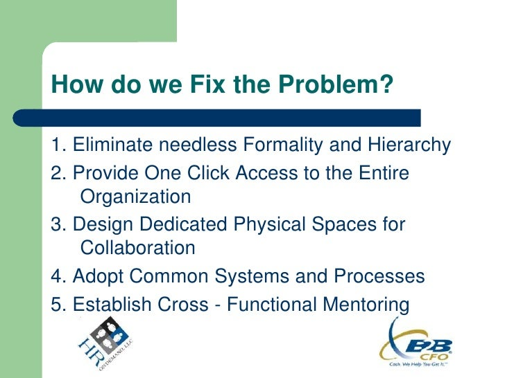 How do we Fix the Problem?1. Eliminate needless Formality and Hierarchy2. Provide One Click Access to the Entire    Organi...