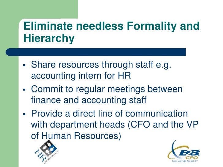 Eliminate needless Formality andHierarchy   Share resources through staff e.g.    accounting intern for HR   Commit to r...