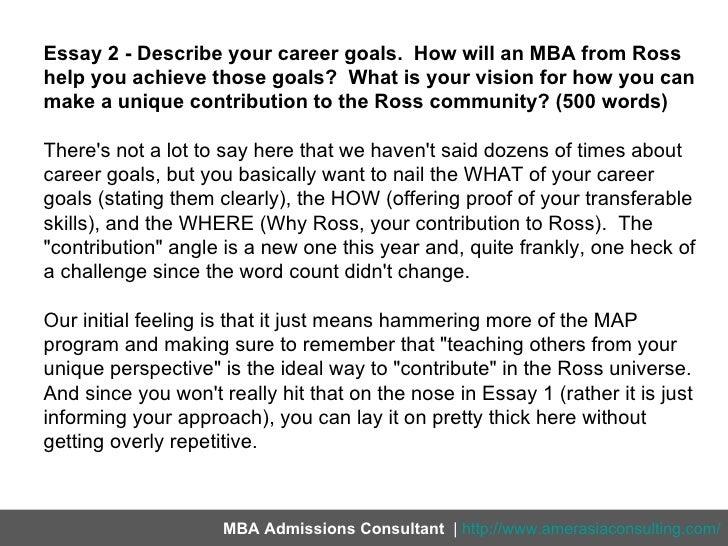 Sample Career Goals Essay For Mba Mistyhamel