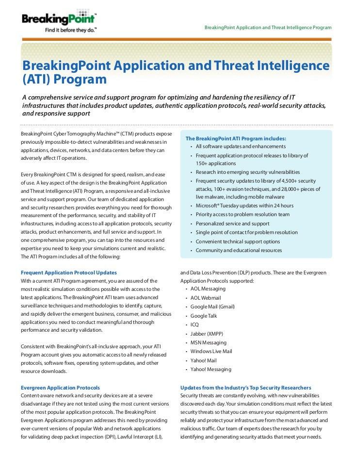 BreakingPoint Application and Threat Intelligence ProgramBreakingPoint Application and Threat Intelligence(ATI) ProgramA c...