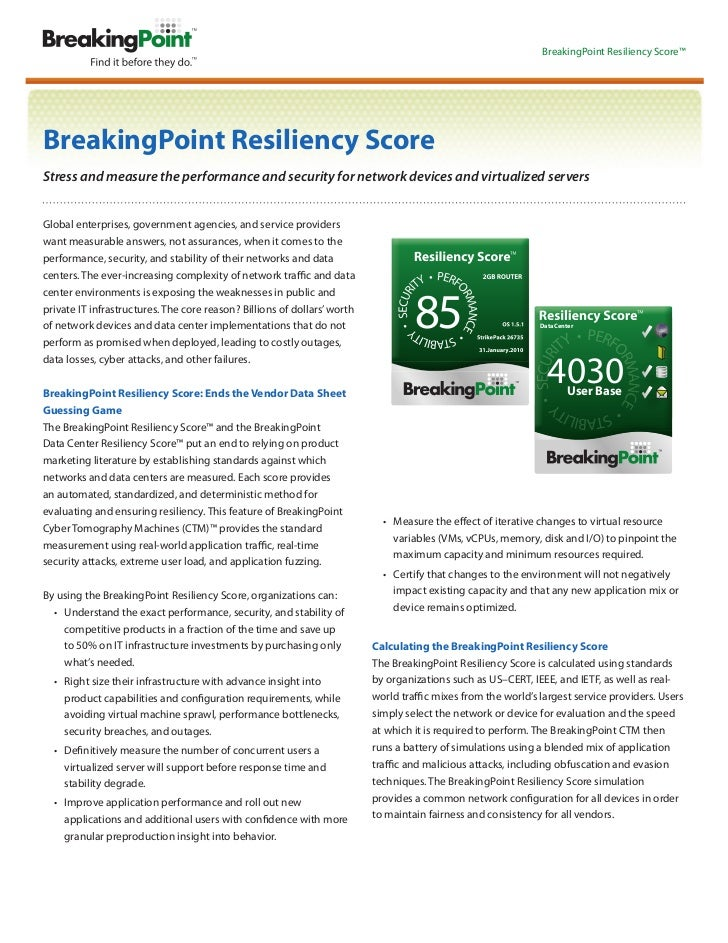 BreakingPoint Resiliency Score™BreakingPoint Resiliency ScoreStress and measure the performance and security for network d...