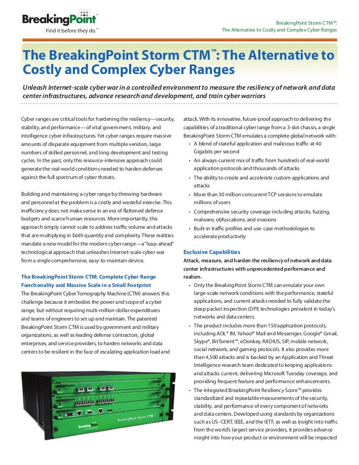 BreakingPoint Storm CTM™     Is Your Network Infrastructure Resilient Against Attack and High-Stress Application Traffic? ...