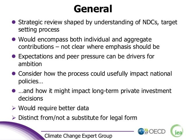 3 Climate Change Expert Group General  Strategic review shaped by understanding of NDCs, target setting process  Would e...