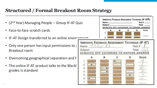 Structured / Formal Breakout Room Strategy • (2nd Year) Managing People – Group IF-AT Quiz • Face-to-face scratch cards • ...