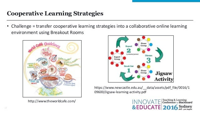 Cooperative Learning Strategies • Challenge = transfer cooperative learning strategies into a collaborative online learnin...