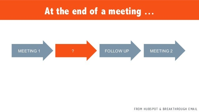 F R O M H U B S P OT & B R E A K T H R O U G H E M A I L MEETING 1   ?   FOLLOW UP   MEETING 2   At the end of a m...