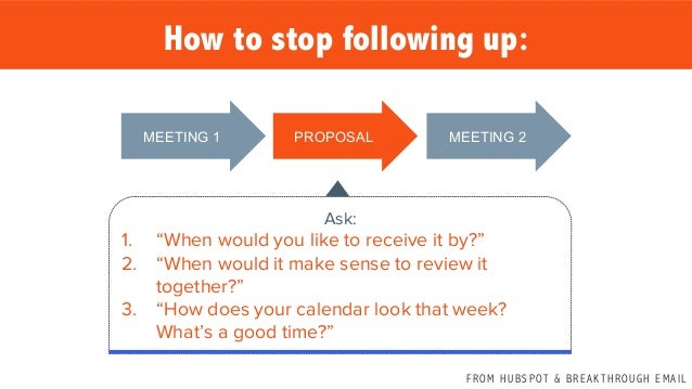 F R O M H U B S P OT & B R E A K T H R O U G H E M A I L MEETING 1   PROPOSAL   MEETING 2   How to stop following up...