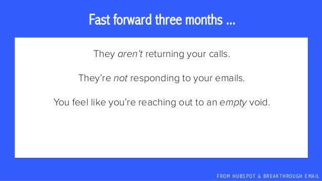 F R O M H U B S P OT & B R E A K T H R O U G H E M A I L They aren't returning your calls. They're not responding to your ...